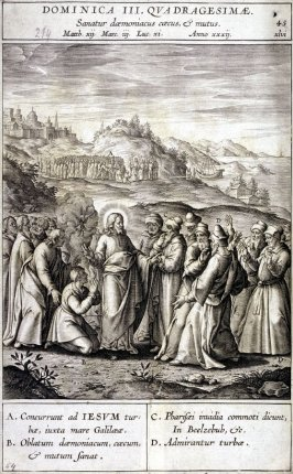 Christ Healing a Deaf-Mute, plate 45 from P. Jeronimo Nadal, Evangelicae Historiea Imagines (Antwerp, 1593)