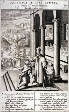 The Parable of the Royal Wedding Feast; A Servant Bringing the Message, plate 49 from P. Jeronimo Nadal, Evangelicae Historiea Imagines (Antwerp, 1593)