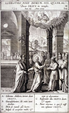 Christ Teaching in the Temple, plate 54 from P. Jeronimo Nadal, Evangelicae Historiea Imagines (Antwerp, 1593)