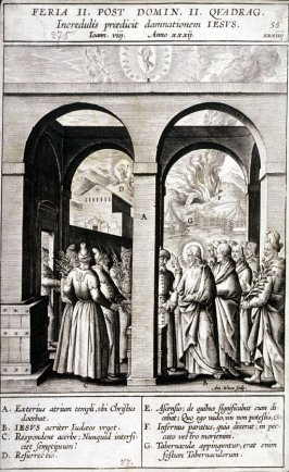 Christ Debating with Pharisees, plate 55 from P. Jeronimo Nadal, Evangelicae Historiea Imagines (Antwerp, 1593)