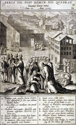 The Healing of the Blind, plate 57 from P. Jeronimo Nadal, Evangelicae Historiea Imagines (Antwerp, 1593)