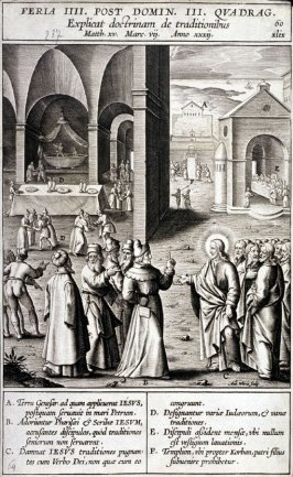 Christ Talking with the Pharisees, plate 60 from P. Jeronimo Nadal, Evangelicae Historiea Imagines (Antwerp, 1593)