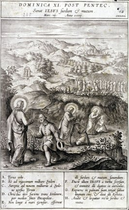 Christ Healing a Deaf-Mute, plate 62 from P. Jeronimo Nadal, Evangelicae Historiea Imagines (Antwerp, 1593)