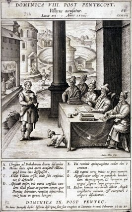 The Parable of the Unmerciful Servant, plate 64 from P. Jeronimo Nadal, Evangelicae Historiea Imagines (Antwerp, 1593)