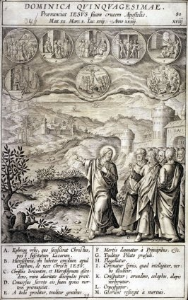 Christ Announcing his Passion, plate 80 from P. Jeronimo Nadal, Evangelicae Historiea Imagines (Antwerp, 1593)