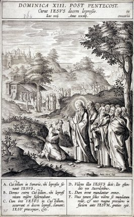 Christ Healing the Leper, plate 81 from P. Jeronimo Nadal, Evangelicae Historiea Imagines (Antwerp, 1593)