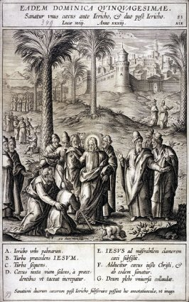 The Healing of a Blind Man Before the Entrance of Jericho, plate 83 from P. Jeronimo Nadal, Evangelicae Historiea Imagines (Antwerp, 1593)