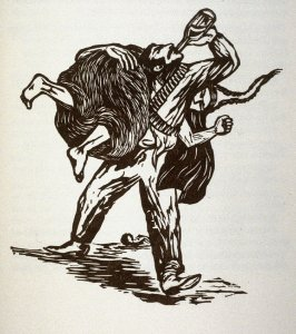 Untitled (couple fighting), on page 66 in the book, Zapata by John Steinbeck (Covelo CA: Yolla Bolly Press, 1991