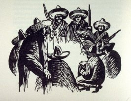 Untitled (soldiers' council), on page 118 in the book, Zapata by John Steinbeck (Covelo CA: Yolla Bolly Press, 1991