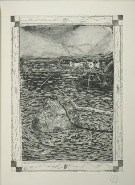 """Beginning Passes"" (plate no. 3) in the book A Suite of Daze by William T. Wiley (Chicago: Landfall Press Inc., 1977)."
