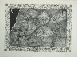 """""""Last Cow Caves"""" (plate no. 7) in the book A Suite of Daze by William T. Wiley (Chicago: Landfall Press Inc., 1977)."""