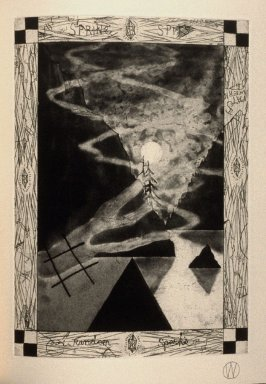 """""""Spring Spits"""" (plate no. 9) in the book A Suite of Daze by William T. Wiley (Chicago: Landfall Press Inc., 1977)"""