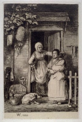 2 women with a child and dog standing outside cottage door (1820)
