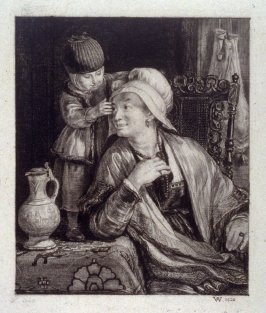 Woman and child in richly furnished Dutch Interior
