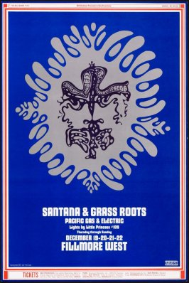 Santana, Grass Roots, Pacific Gas & Electric, December 19 - 22, Fillmore West