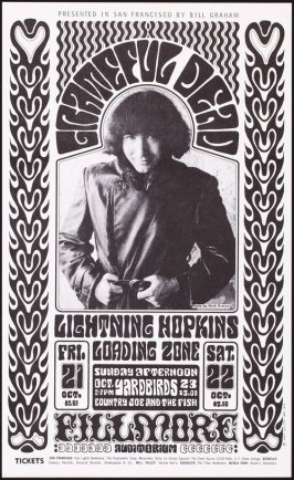 Grateful Dead, Lightning Hopkins, Loading Zone, Yard Birds, Country Joe & the Fish, October 21 & 22, Fillmore Auditorium