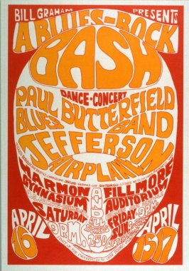 Paul Butterfield Blues Band, Jefferson Airplane, April 15 & 17, Fillmore Auditorium, April 16,  Harmon Gymnasium, University of California, Berkeley