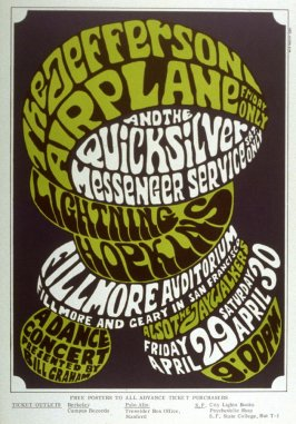 Jefferson Airplane, Quicksilver Messenger Service, Lightning Hopkins, April 29 & 30, Fillmore Auditorium
