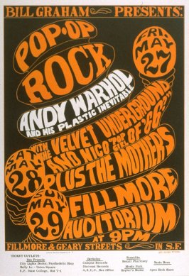 Andy Warhol and His Plastic Inevitable, Velvet Underground, Nico, Mothers, May 27 - 29, Fillmore Auditorium