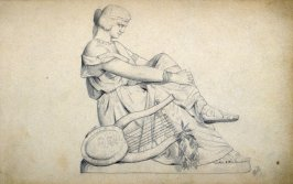 Sketchbook; statue: seated classical female
