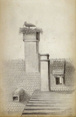 Sketchbook; crane with nest in chimney