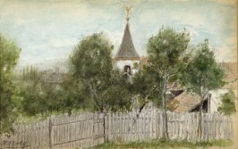 Sketchbook; church steeple, fence