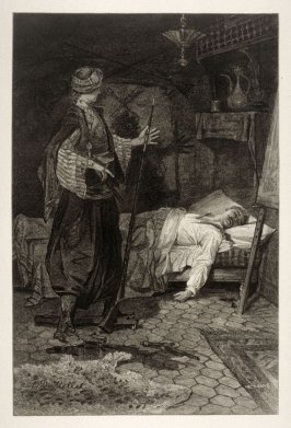 Room interior with man sleeping in bed, female figure standing