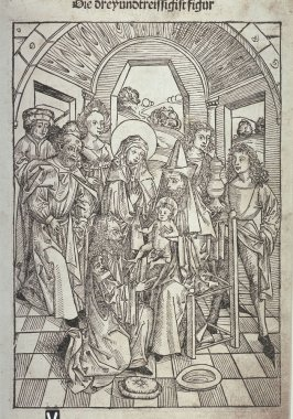 The Circumcision of Christ (plate 33, recto) / The Baptism of Christ (plate 34, verso), from Stephan Fridolin, Schatzbehalter der wahren Reichtümer des Heils (Treasure Chest of the True Riches of Salvation and Eternal Blessedness) (Nuremberg: Anton Koberg