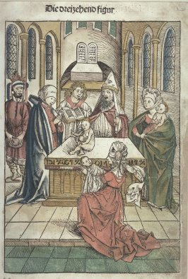 The offering of the first-born in the Temple (plate 13, recto) / Joseph taken out of the well and sold by his brothers to the Midianite Merchants (plate 14, verso), from Stephan Fridolin, Schatzbehalter der wahren Reichtümer des Heils (Treasue Chest of th