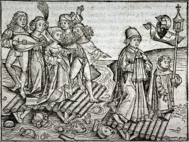 [Procession over broken bridge], from the Nuremberg Chronicle