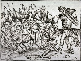 [Men burning in fire], from the Nuremberg Chronicle