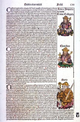 Roman Emperors Caligula, Claudius, and Nero (recto) / Stoning of Stephen and Conversion of Paul (verso), from Hartmann Schedel, Nuremberg Chronicle (Liber chronicarum) (Nuremberg: Anton Koberger, 1493)