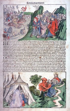 Balaam (recto) / Crossing of the Red Sea and Moses Receiving the Ten Commandments (verso), from Hartmann Schedel, Nuremberg Chronicle (Liber chronicarum) (Nuremberg: Anton Koberger, 1493)