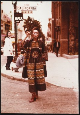 Merle Bulatao in a Green Guatemalan Pantdress, Chinatown, San Francisco