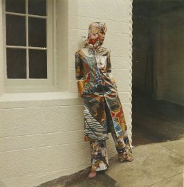 Photograph: Phyllis Wong in Psychedelic Coat, Trousers and Hood