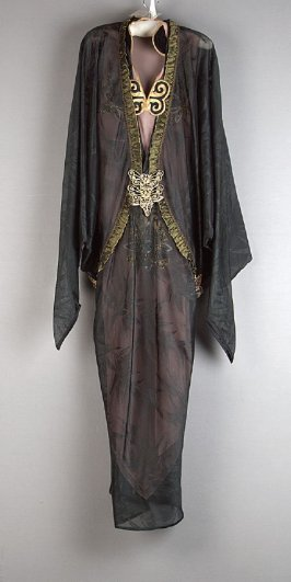 Layered dress from evening ensemble (with coat: c)