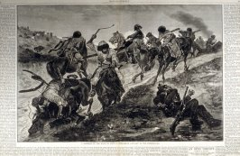 A skirmish on the road to Plevna - Circassian Cavalry in the Foreground -  from Harper's Weekly  (December 1, 1877), pp. 944-945