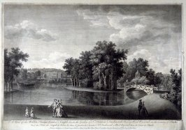 A view of the Walton Bridge, Venus's Temple &c in the Garden of Sr Francis Dashwood Bart at West Wycomb in the County of Bucks
