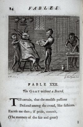 The Goat Without a Beard, plate for Fable XXII on page 84 in the book, Fables (London: J. Tonson and J. Watts, 1729)