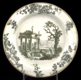 Plate with classical ruins and tree
