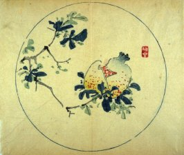 Single Pomegranate on Branch, No.7 from the Volume on Round Fans - from: The Treatise on Calligraphy and Painting of the Ten Bamboo Studio