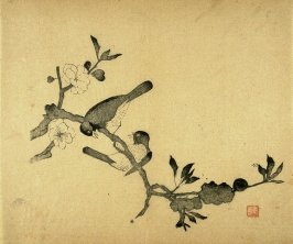 Two Birds playing on a prunus branch, No.8 from Volume I(1+2) on Miscellaneous Subjects - from: The Treatise on Calligraphy and Painting of the Ten Bamboo Studio
