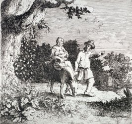Woman and Child on donkey, man leading it