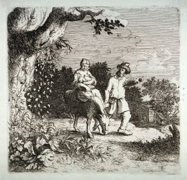 Woman and Child on donkey with man on foot leading it