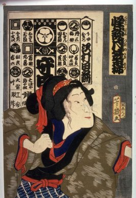 [The actor Sawamura Tanosuka in a scene from a play]