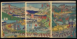 Ishiyokushi to Kyoto, sheets 10-12 of a twelve panel composition Famous Places on the Tokaido: Shogun's Procession to Kyoto to Meet the Emperor (Tokaido meisho zu )