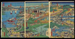 Maizaka to Yokkaichi, sheets 7-9 of a twelve panel composition Famous Places on the Tokaido: Shogun's Procession to Kyoto to Meet the Emperor (Tokaido meisho zu)