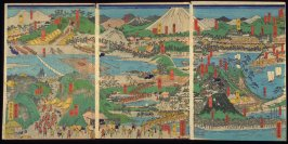 Tokyo to [across Tokyo Bay], sheets1-3 of a twelve panel composition Famous Places on the Tokaido: Shogun's Procession to Kyoto to Meet the Emperor (Tokaido meisho zu)