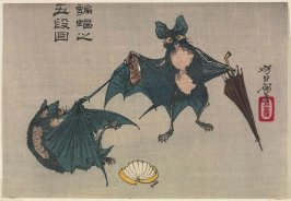 "Komori no godanme (Bats in the Fifth Act of ""Chushingura""[Treasury of Loyal Retainers]), from an untilted series known as Yoshitoshi ryakuga (Sketches by Yoshitoshi)"