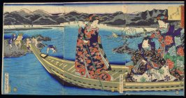 The Tama River (Tamagawa no kei), from the series People of Edo Dressed as Genji in Ancient Purple (the Purple of Edo) ( Edo-murasaki yatsushi Genji)
